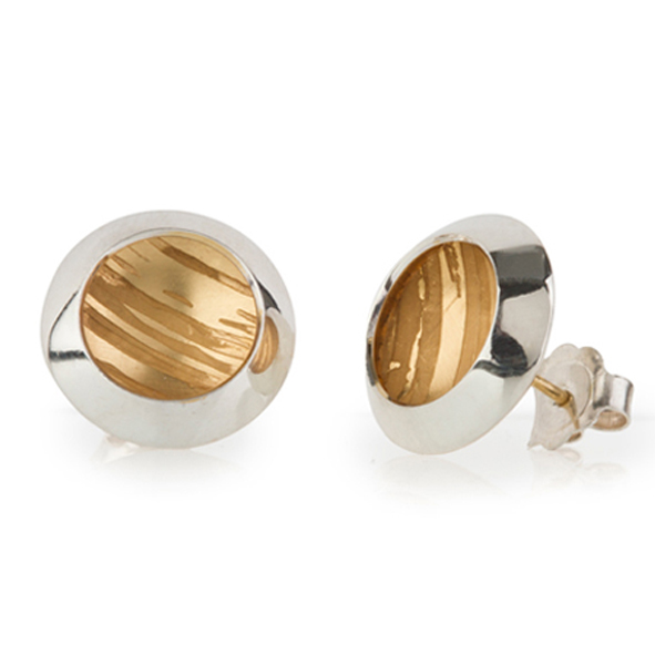 Estuary Earring - Etched Silver and Gold Becca Williams