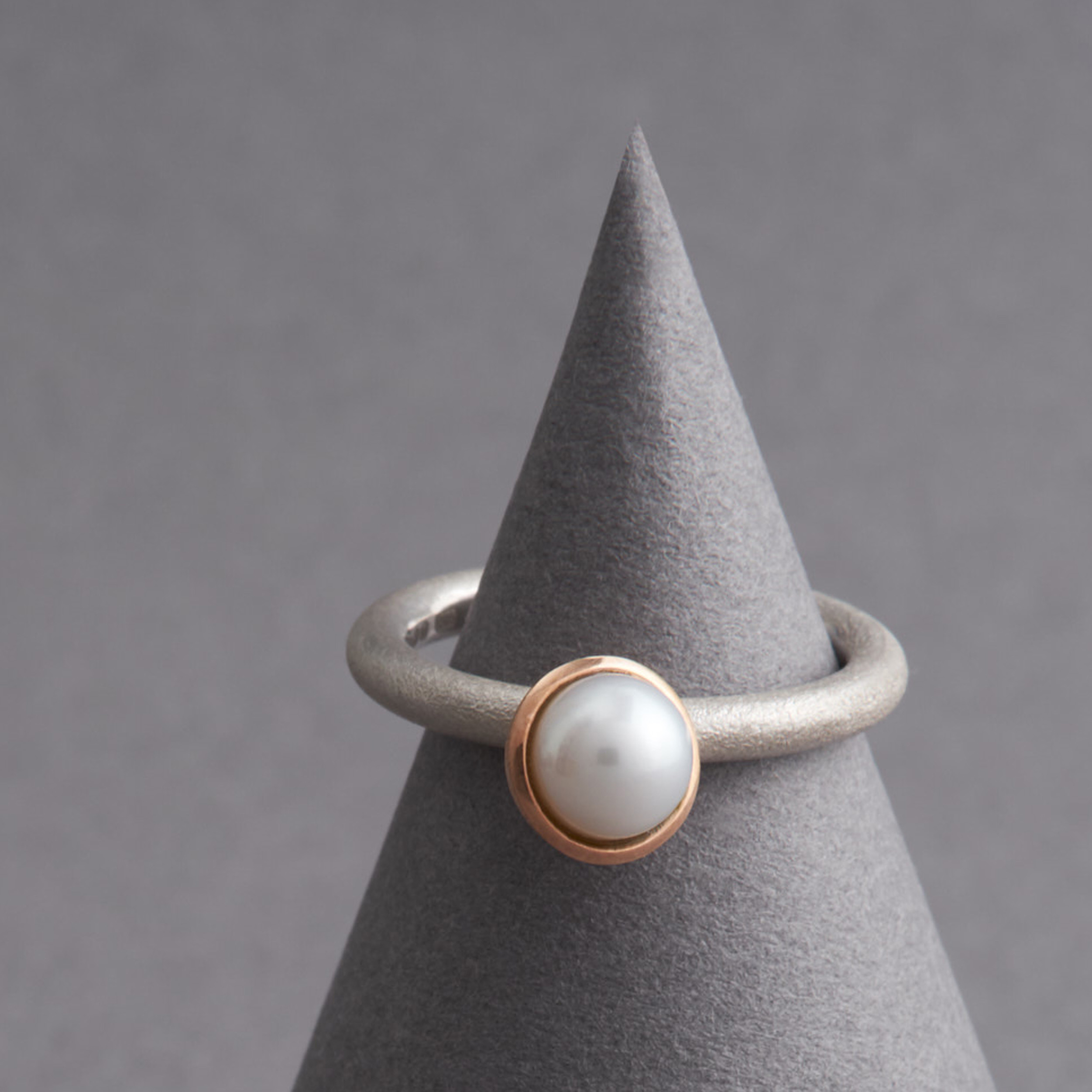 Tidal Pearl Ring: Silver & Red Gold
