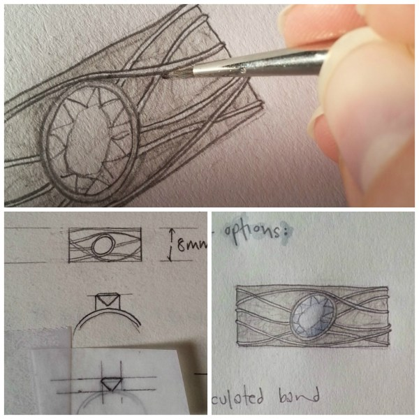 Silver Topaz Ring Design drawings