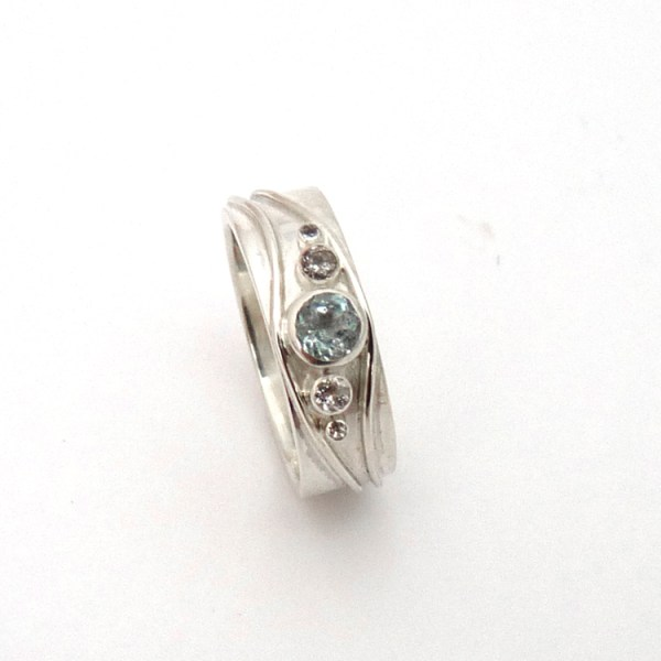 Eternity Ring Blue & White Topaz by Becca Williams 2