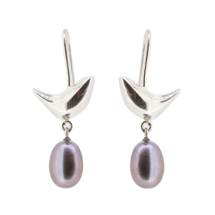 Riverside Silver Bird and Black Pearl Earrings