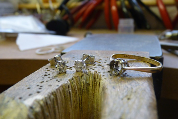 Original Engagement Ring shank with the brand new Diamond Earrings