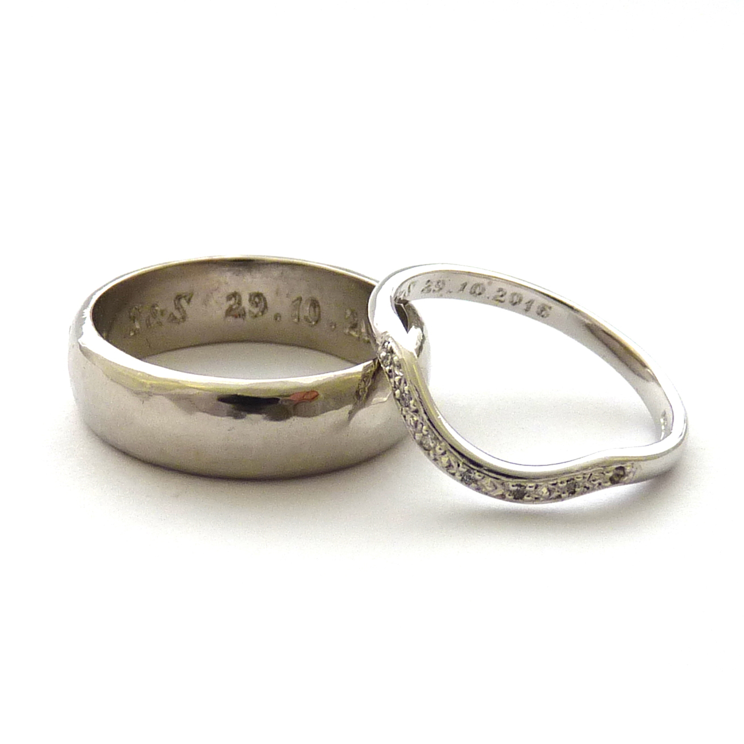 Sheree and Simons 18ct White Gold and Hammered Palladium Bands
