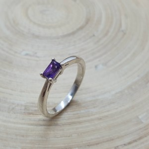 Classic Baguette Ring in Amethyst & Silver
