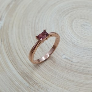 Classic Baguette Ring in 9ct Red Gold & Pink Tourmaline