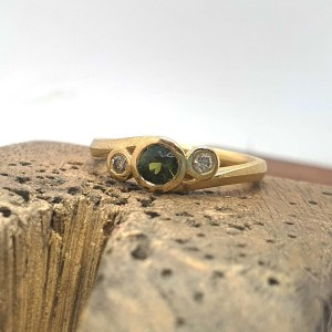 Tidal Twist Green Sapphire, Champagne Diamond and 18ct Fairtrade Gold Ring