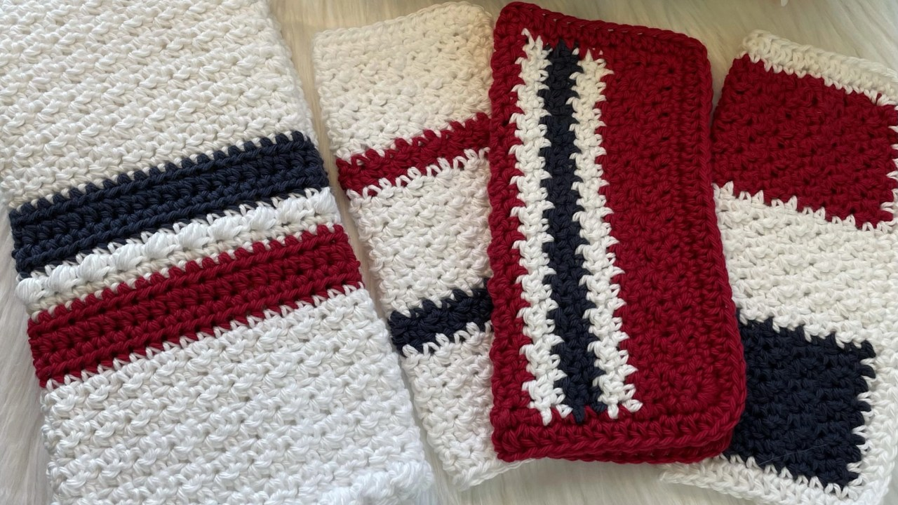 New Crochet Pattern: My Country Hand Towel, Dish Towel, & Wash Cloth Set