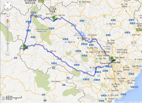 Översikt på rutten. Hanoi är både start och mål (D).