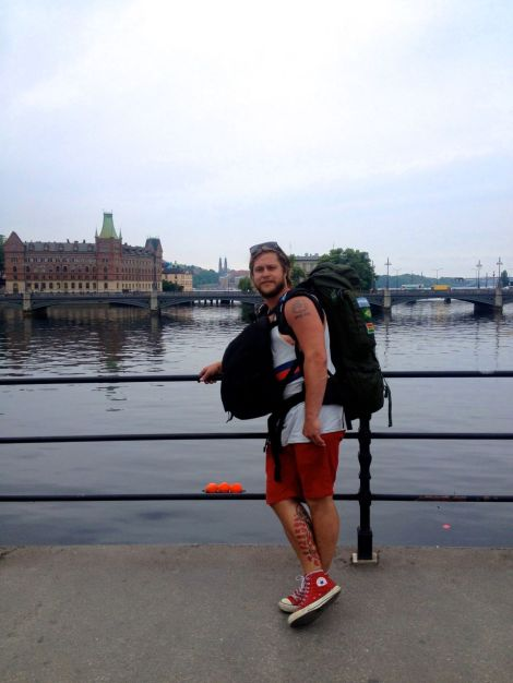 Sista bilden från Sverige. Sen skjutsade pappa Håkan oss till Finlandsfärjan.