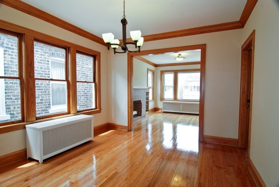 Dining room post renovation of affordable green home, Chicago