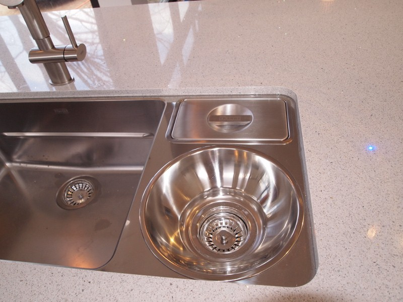 Franke stainless steel sink with compost bin