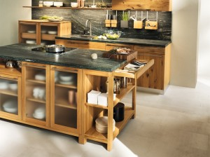 Loft Kitchen with glass cabinet doors
