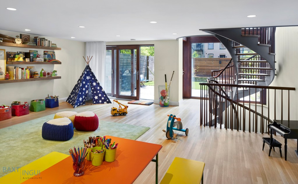 Playroom in remodelled home in Brooklyn, NY
