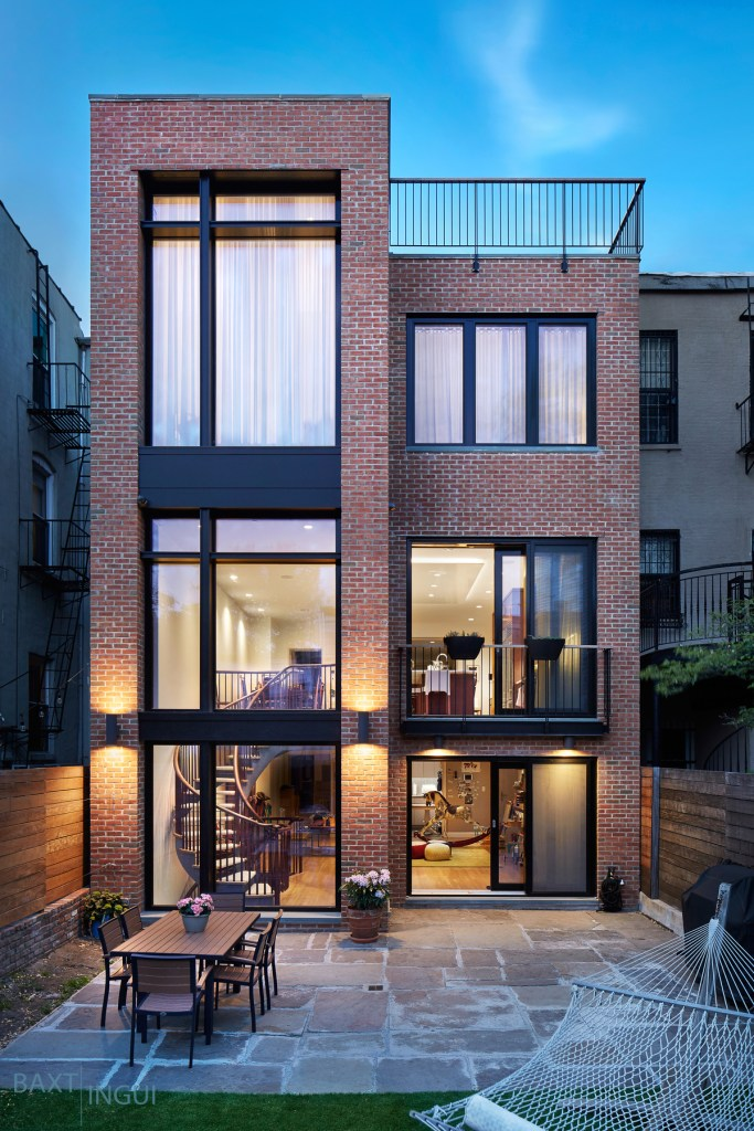 Passive House Plus renovated home view of addition off back of townhouse Brooklyn NY
