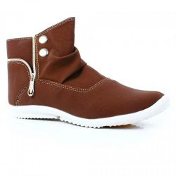 Front Button Zipper Style Brown Casual Shoes in Pakistan-750x750