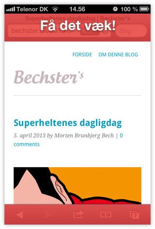 Browser rammen på iOS