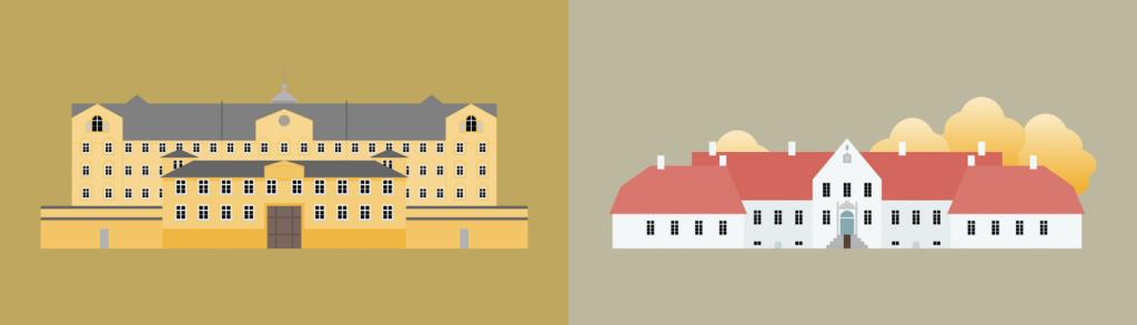 Illustration af Fængslet og Bygholm Parkhotel