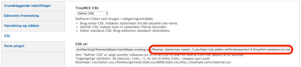 Wysiwyg-profilen, nu med stier til ikon-css og din egen css.