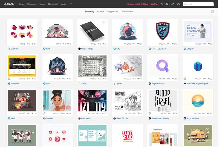 Screenshot fra Dribbble.com
