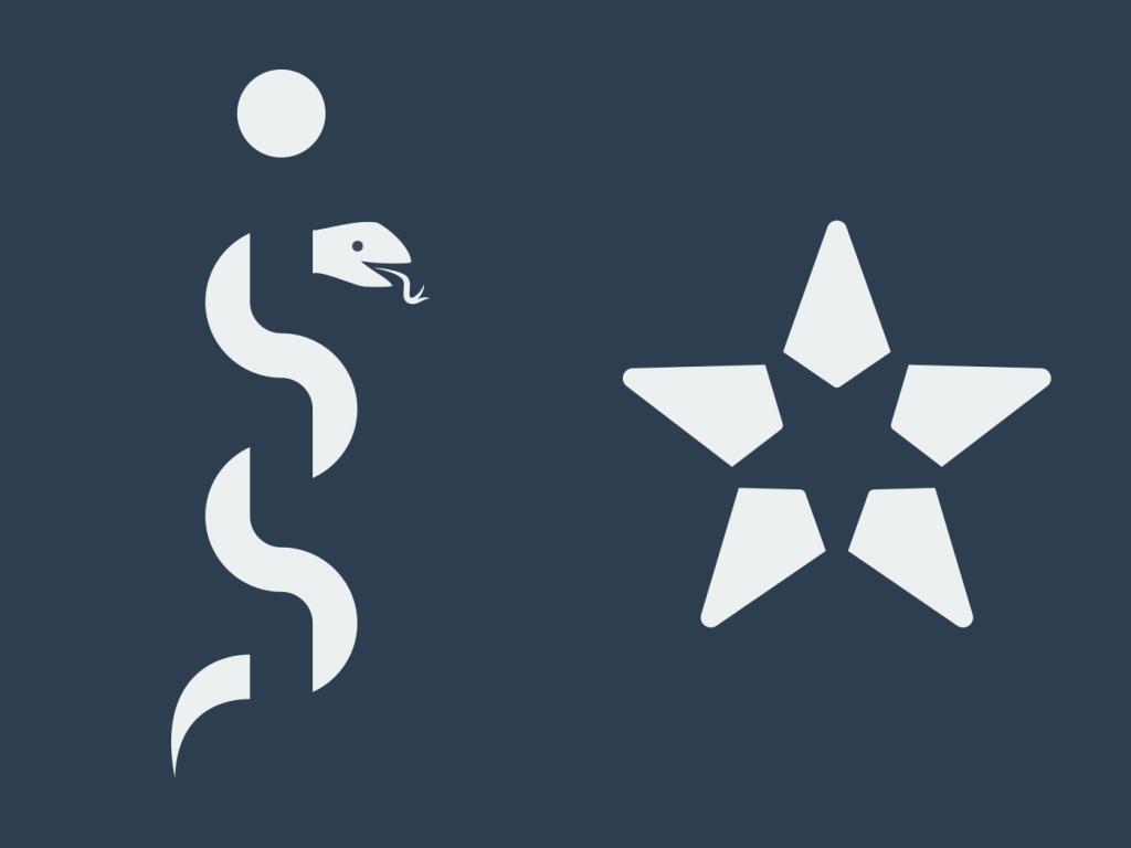 Illustration af loven om kontinuitet (en slange) og loven om lukkethed (en stjerne)