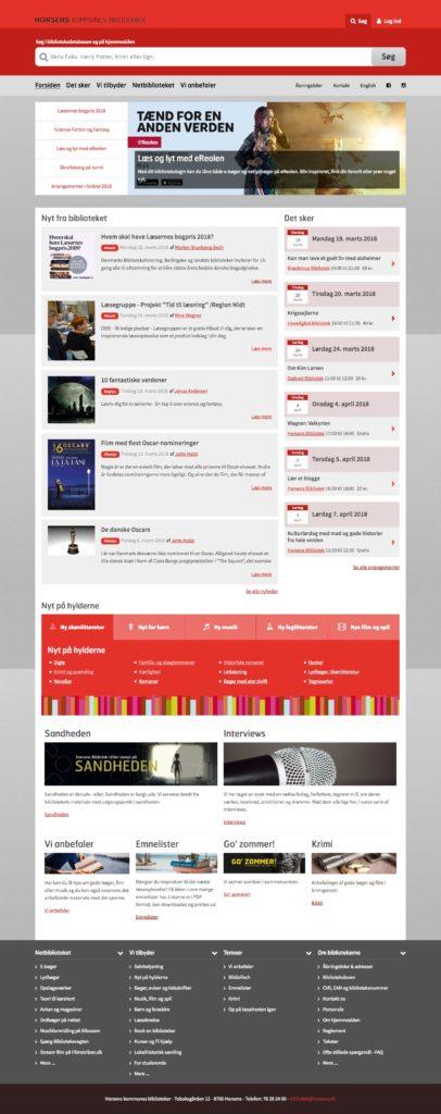 screenshot af Horsens Biblioteks hjemmeside