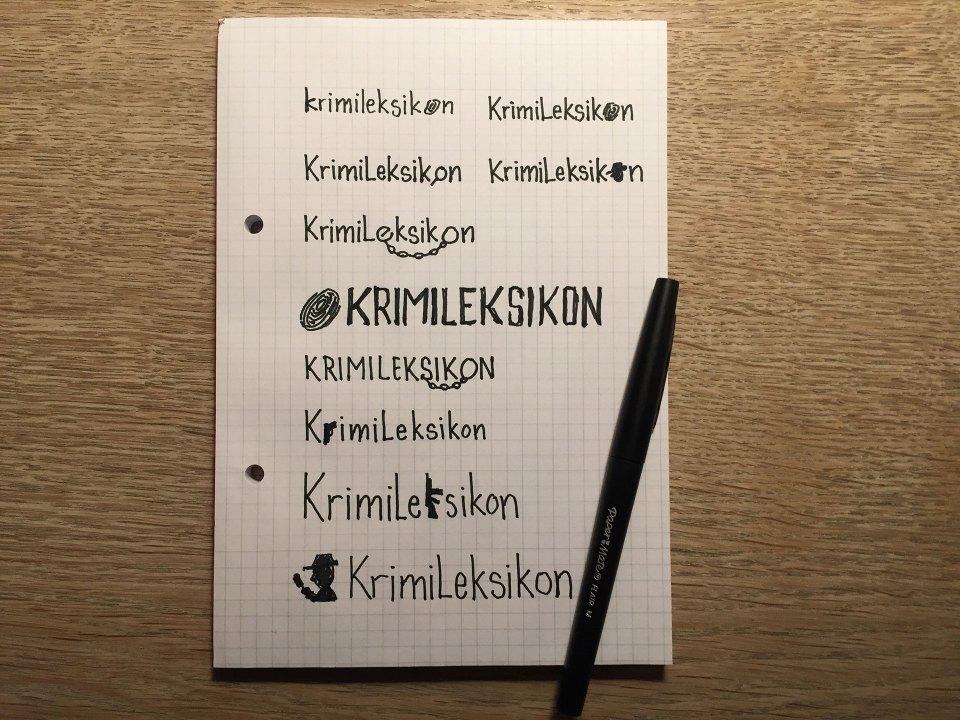 Skitser til logo for Krimi Leksikon