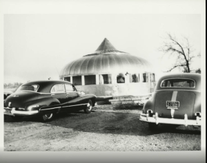 old black and white photograph of the Dymaxion House in Andover, Kansas