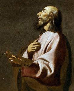 Probable self-portrait of Francisco de Zurbaran in Saint Luke as a Painter before Christ on the Cross (1635-1640).