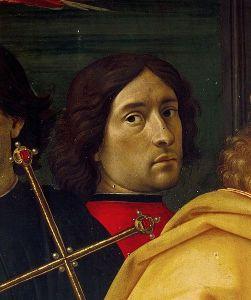 Probable self-portrait of Domenico Ghirlandaio in The Adoration of the Magi (1485-1488).