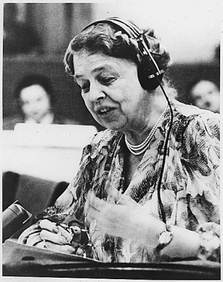 Eleanor Roosevelt speaking at the United Nations in 1947.