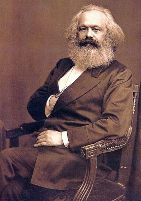 A photograph of Karl Marx, taken about 1875. It is now at the International Institute of Social History in Amsterdam.