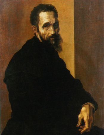Portrait of Michelangelo Buonarroti by Jacopino del Conte from 1535. It is located in the Metropolitan Museum of Art, New York.
