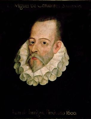 A portrait of Miguel de Cervantes from 1600, possibly by Juan de Jauregui. It is located at the Real Academia de la Historia in Madrid.
