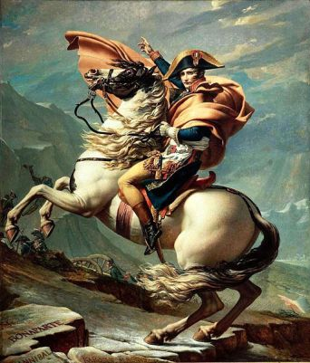 Napoleon Crossing the Alps, by Jacques-Louis David (1801). The painting is located at the Château de Malmaison in Rueil-Malmaison, France.