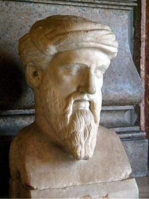 Bust of Pythagoras from Musei Capitolini, Rome. Marble Roman copy of a 5th Century BCE Greek bronze original.
