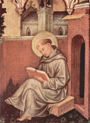 Thomas Aquinas, as depicted by Gentile da Fabriano in a 1400 painting, now in the Pinacoteca di Brera, in Milan.