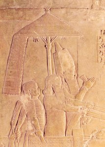 This bas relief from 700 BCE depicts Assyrian King Ashurbanipal under an umbrella.