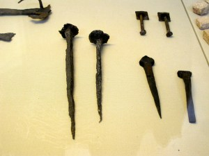 These iron nails were found in Ancient Roman sites and date from between 50 BCE and 50 CE.