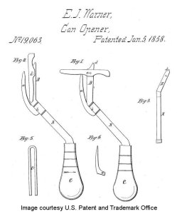 Ezra Warner's 1858 patent for a can opener.
