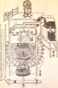 An illustration from a book by Su Song showing his 1088 clock tower.