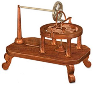 An artist's rendering of Davenport's first electric motor, from 1835.