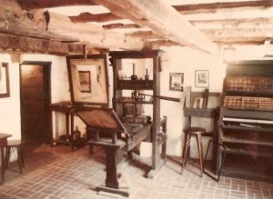 This replica of Gutenberg's printing press (left) and workshop is located in St. George's, Bermuda.