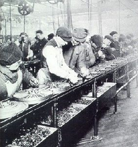 The Ford Model T assembly line in 1913.
