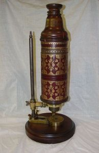 This microscope was built by Christopher Cook for Robert Hooke in the 17th Century.
