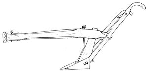 This is a reconstruction of an 1838 John Deere plow, complete with handles, seen from the left, or share side.