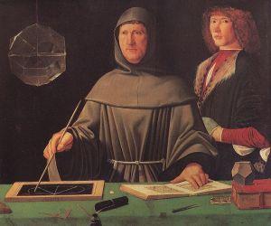 A 1496 portrait of Fra Luca Pacioli, attributed to Jacopo de Barbari.