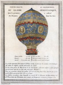 A 1786 illustration of the first manned balloon flight, just three years earlier.