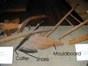 This display shows a wooden plow taken apart to show the colter, share and moldboard.