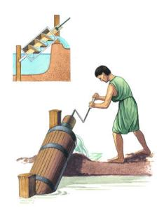 This painting shows what using an Archimedes' screw for irrigation might have been like.