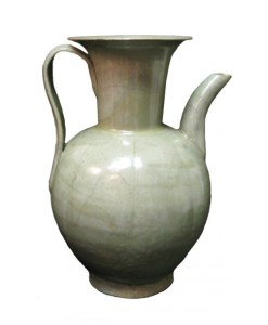 A white porcelain vase dating from the Tang Dynasty, 618-907 CE.